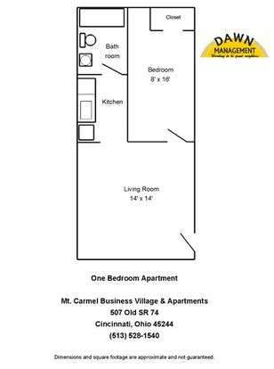 1 Bedroom 1 Bathroom Apartment for rent at Mt. Carmel Business Village And Apartments in Cincinnati, OH