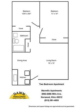 2 Bedrooms 1 Bathroom Apartment for rent at Marmills Apartments in Cincinnati, OH