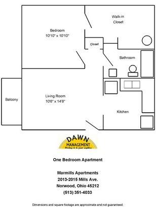 1 Bedroom 1 Bathroom Apartment for rent at Marmills Apartments in Cincinnati, OH