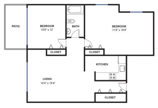 2 Bedrooms 1 Bathroom Apartment for rent at Sans Souci in Ann Arbor, MI