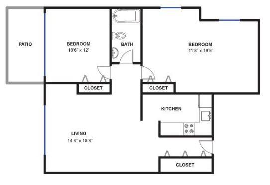 2 Bedrooms 1 Bathroom Apartment for rent at Sans Souci in Ann Arbor, MI