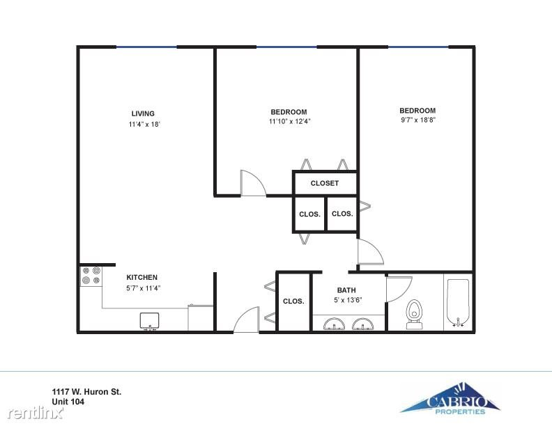 2 Bedrooms 1 Bathroom Apartment for rent at Huron Flats - 1117 W. Huron in Ann Arbor, MI