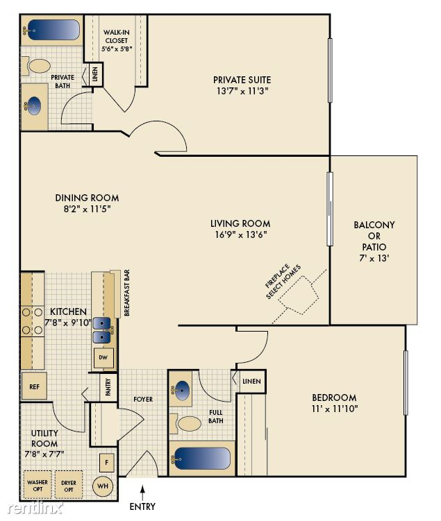 2 Bedrooms 2 Bathrooms House for rent at Eagle Chase Apartments in Indianapolis, IN