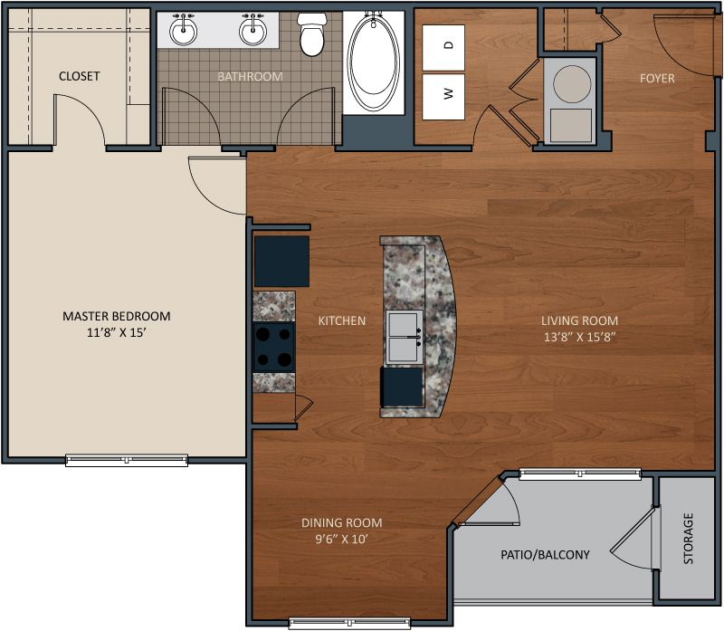 1 Bedroom 1 Bathroom Apartment for rent at Wellsley Park At Deane Hill Apartments in Knoxville, TN