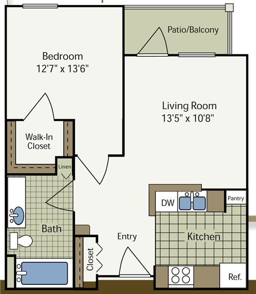 1 Bedroom 1 Bathroom Apartment for rent at Heritage Place At Parkview in Indianapolis, IN