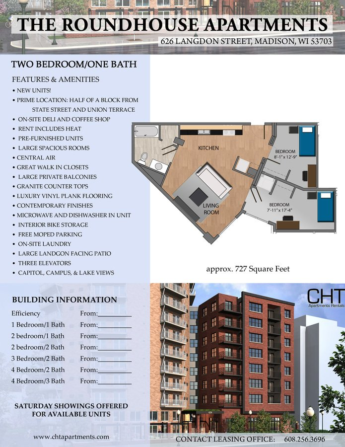 2 Bedrooms 1 Bathroom Apartment for rent at Roundhouse Squared in Madison, WI