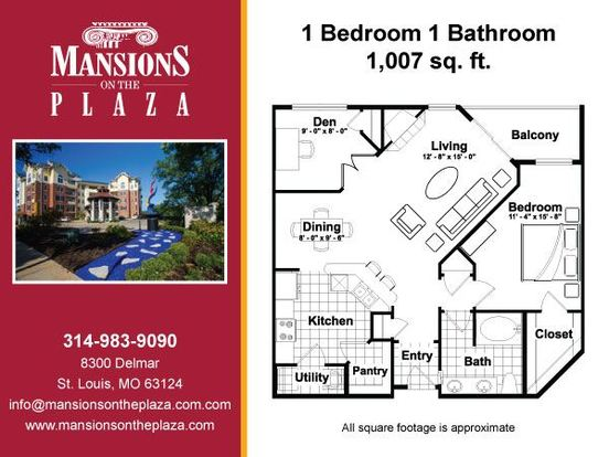 1 Bedroom 1 Bathroom Apartment for rent at Mansions On The Plaza in St Louis, MO