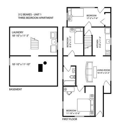 3 Bedrooms 1 Bathroom Apartment for rent at 312 Beakes St in Ann Arbor, MI