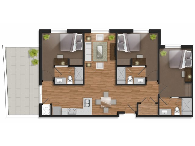 3 Bedrooms 3 Bathrooms Apartment for rent at The Stack in College Station, TX