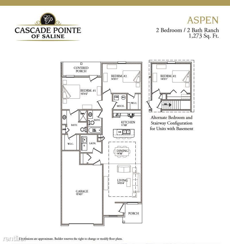 2 Bedrooms 2 Bathrooms Apartment for rent at Cascade Pointe Of Saline in Saline, MI