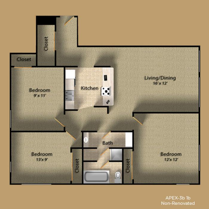 3 Bedrooms 2 Bathrooms Apartment for rent at Apex Apartments in Seattle, WA