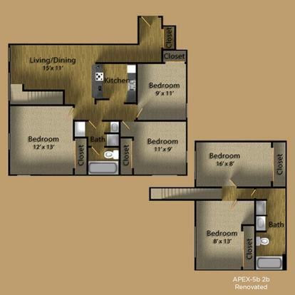 5 Bedrooms 2 Bathrooms Apartment for rent at Apex Apartments in Seattle, WA