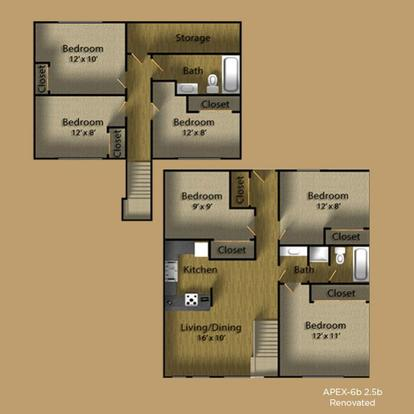6 Bedrooms 3 Bathrooms Apartment for rent at Apex Apartments in Seattle, WA