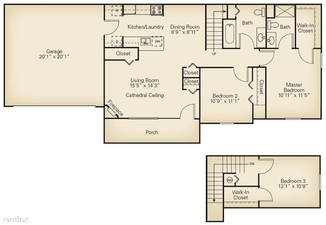 3 Bedrooms 2 Bathrooms Apartment for rent at The Villas Of Madison in Madison, OH