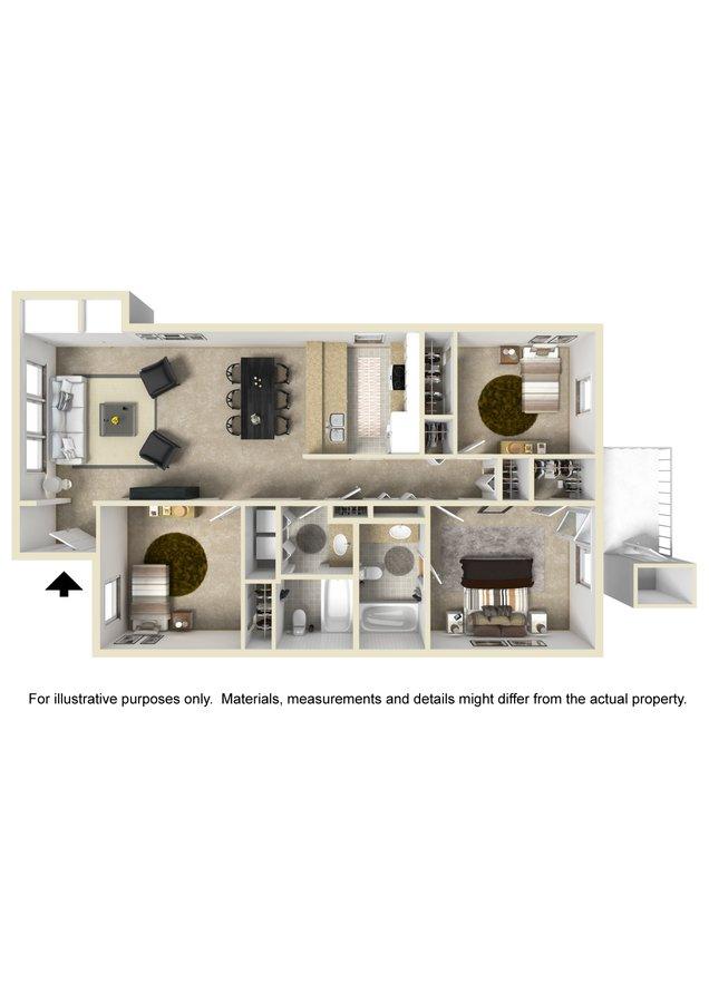 3 Bedrooms 2 Bathrooms Apartment for rent at Deerbrook in Wilmington, NC