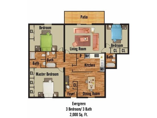 3 Bedrooms 3 Bathrooms Apartment for rent at 2029 Bedford Street in Durham, NC