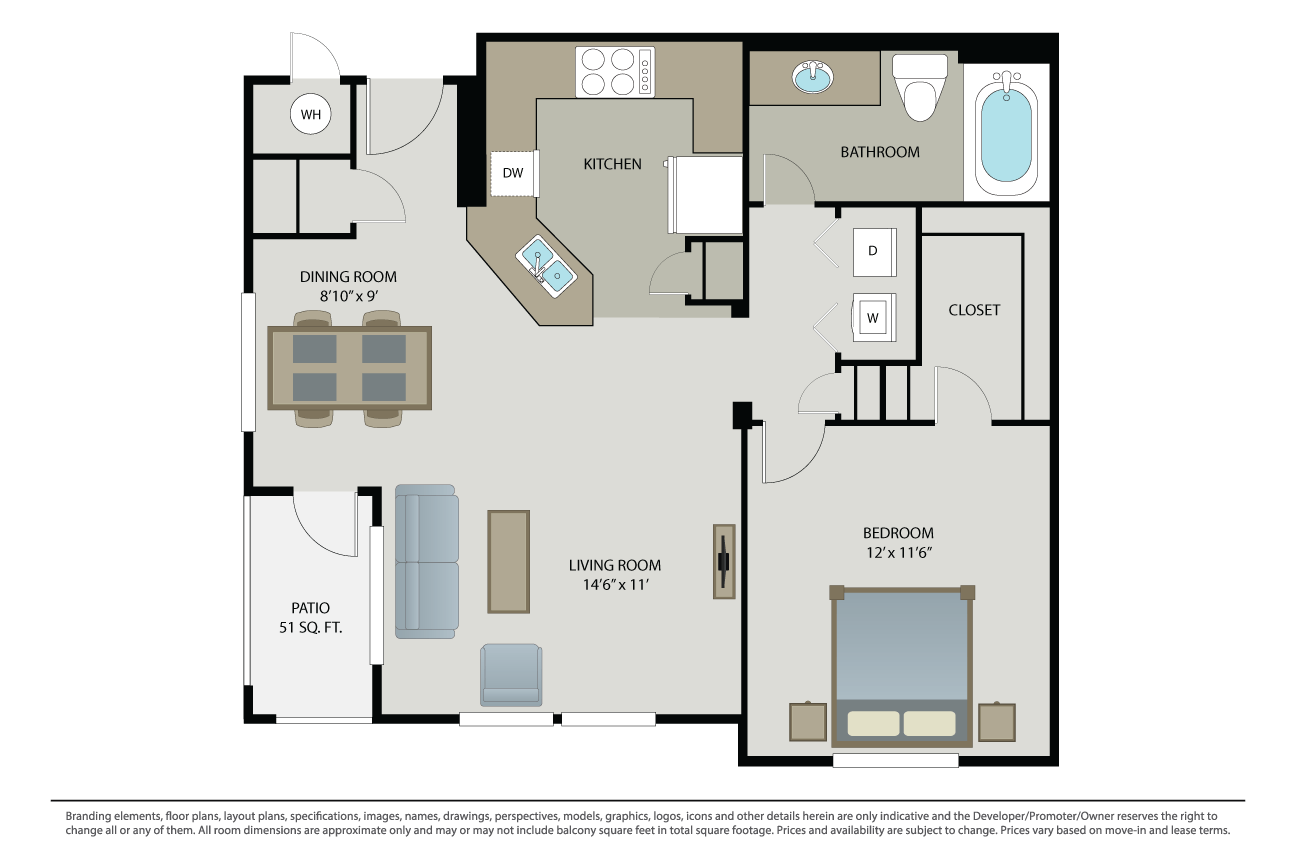 1 Bedroom 1 Bathroom Apartment for rent at Canyon Oaks at Windemere in San Ramon, CA