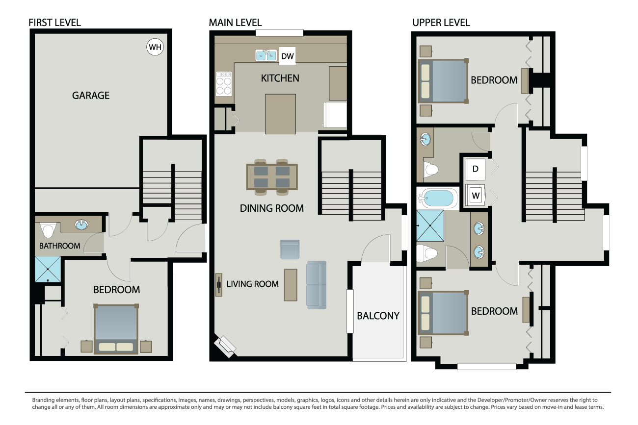 3 Bedrooms 3 Bathrooms Apartment for rent at Arbors At Parc Rose in Oxnard, CA