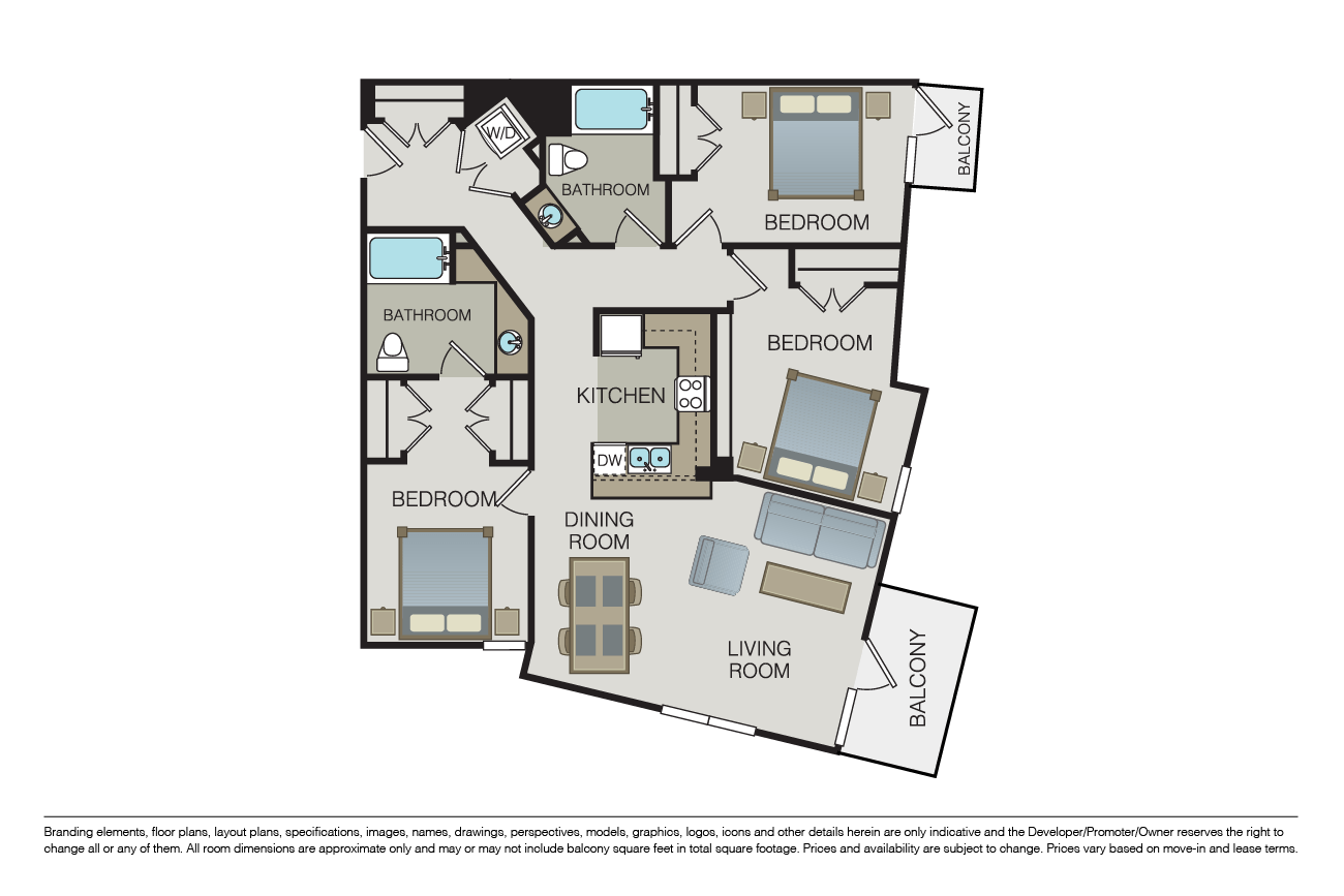 3 Bedrooms 2 Bathrooms Apartment for rent at Form 15 in San Diego, CA