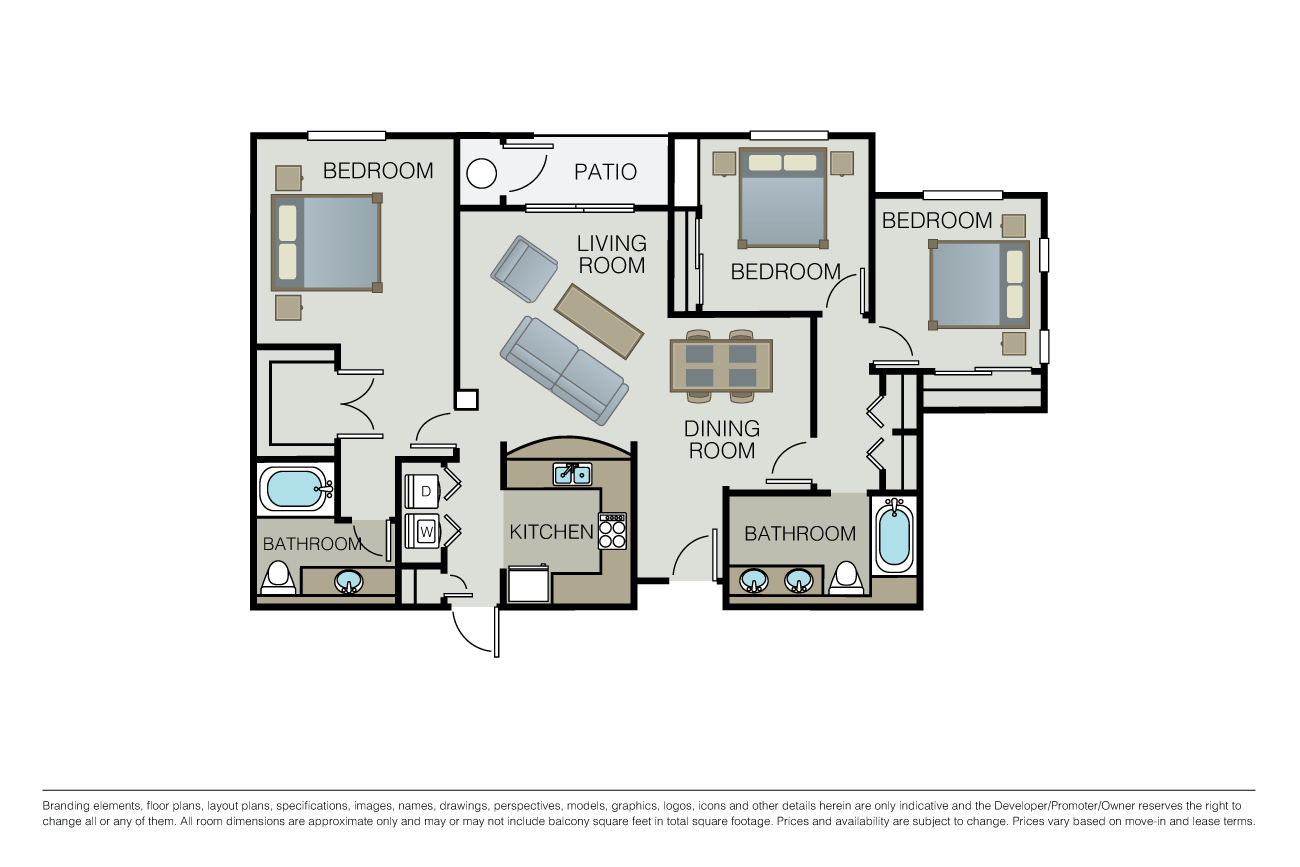 3 Bedrooms 2 Bathrooms Apartment for rent at Mill Creek at Windemere in San Ramon, CA