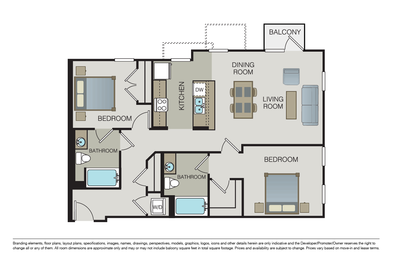 2 Bedrooms 2 Bathrooms Apartment for rent at Form 15 in San Diego, CA