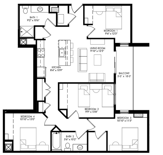 4 Bedrooms 2 Bathrooms Apartment for rent at The Waterfront Apartments in Madison, WI