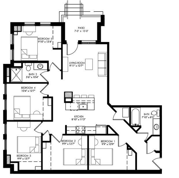 5 Bedrooms 2 Bathrooms Apartment for rent at The Waterfront Apartments in Madison, WI