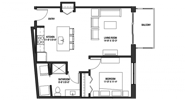 1 Bedroom 1 Bathroom Apartment for rent at Nine Line in Madison, WI