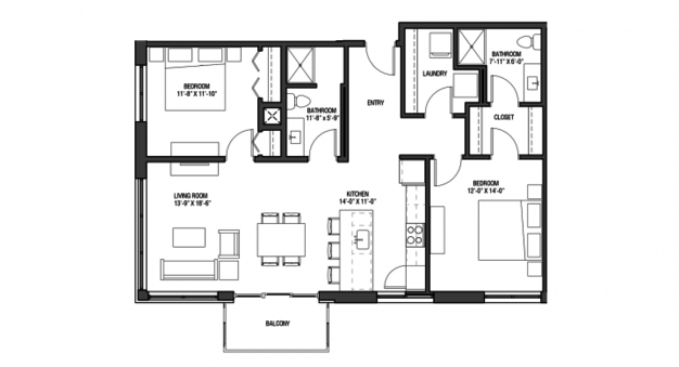 2 Bedrooms 2 Bathrooms Apartment for rent at Nine Line in Madison, WI