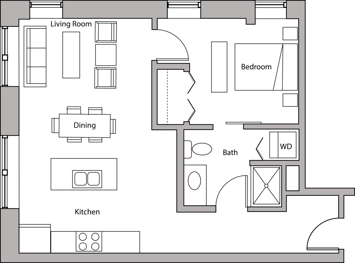 1 Bedroom 1 Bathroom Apartment for rent at Capitol Hill in Madison, WI