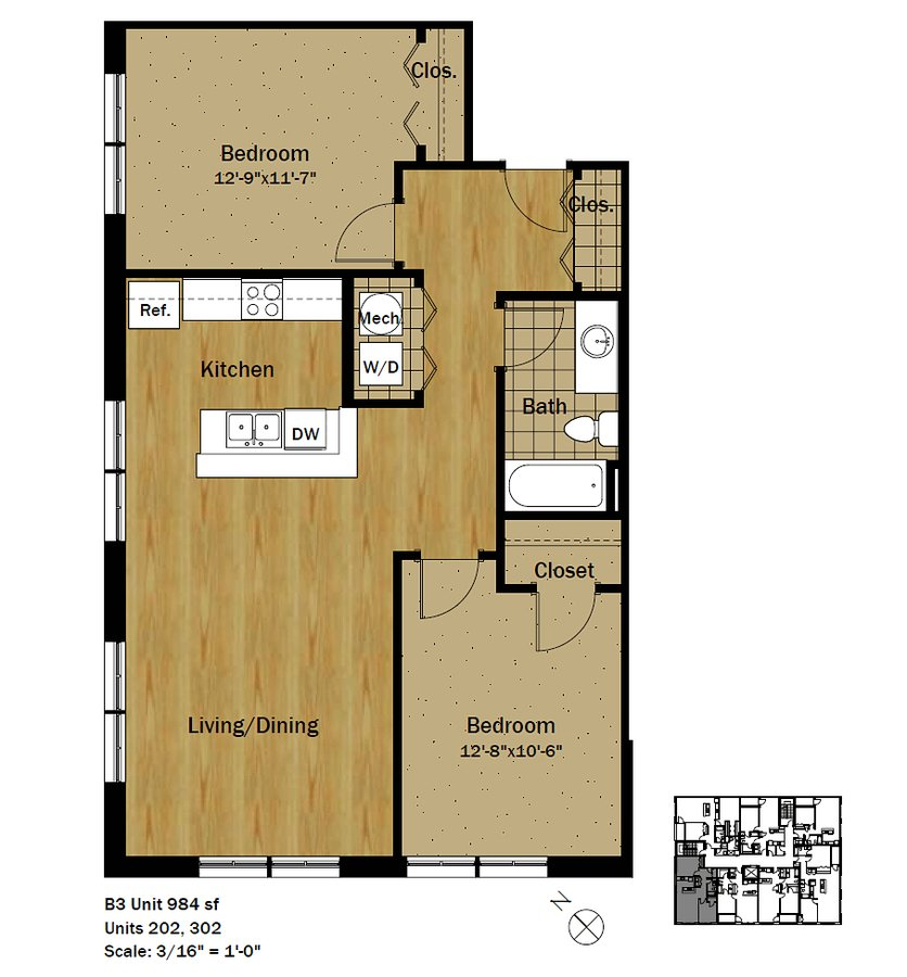 2 Bedrooms 1 Bathroom Apartment for rent at Settlement Place in Madison, WI