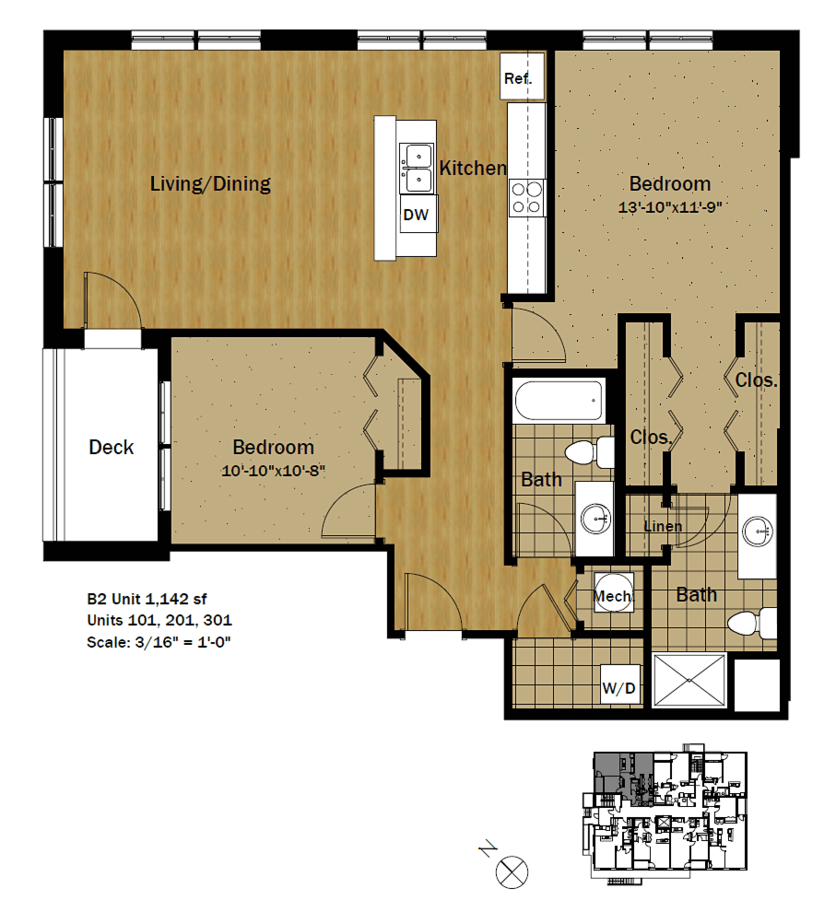 2 Bedrooms 2 Bathrooms Apartment for rent at Settlement Place in Madison, WI