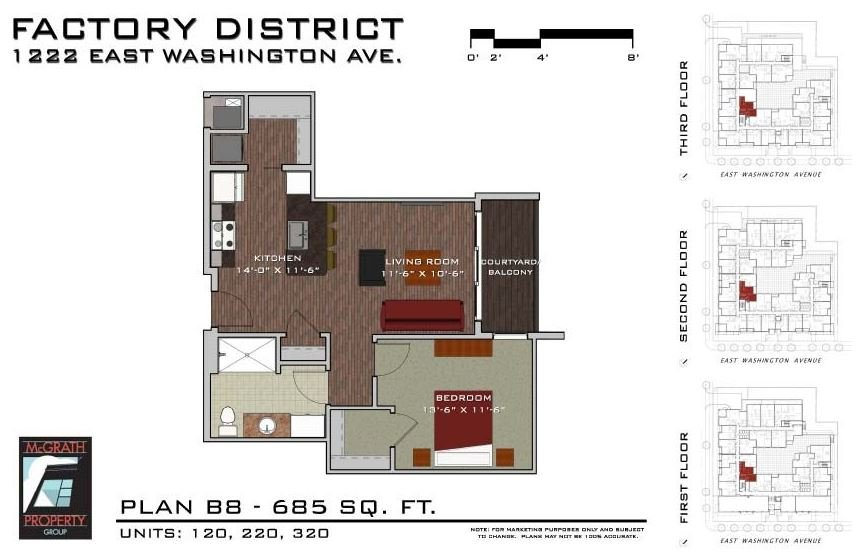 1 Bedroom 1 Bathroom Apartment for rent at Factory District Apartments in Madison, WI