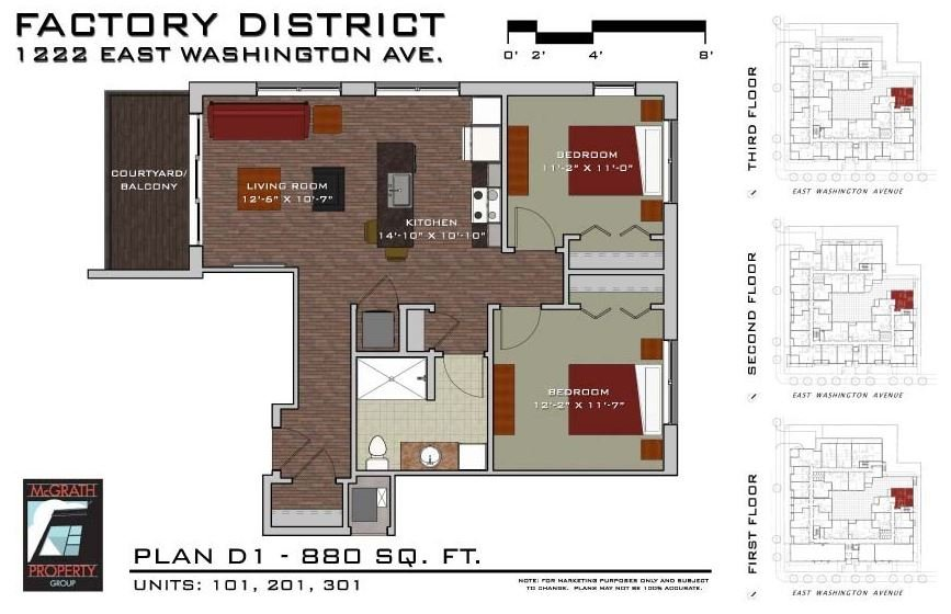 2 Bedrooms 1 Bathroom Apartment for rent at Factory District Apartments in Madison, WI