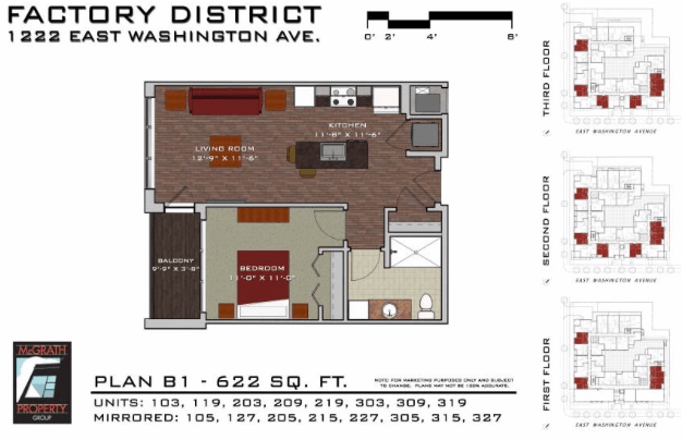 1 Bedroom 1 Bathroom Apartment for rent at Factory District in Madison, WI