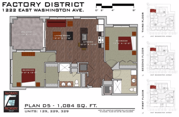 2 Bedrooms 2 Bathrooms Apartment for rent at Factory District in Madison, WI