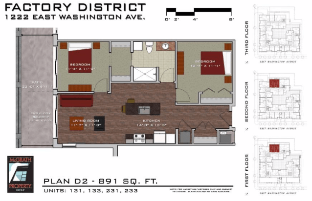 2 Bedrooms 1 Bathroom Apartment for rent at Factory District in Madison, WI