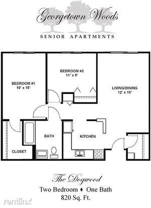 2 Bedrooms 1 Bathroom Apartment for rent at Georgetown Woods Senior Apartments in Indianapolis, IN