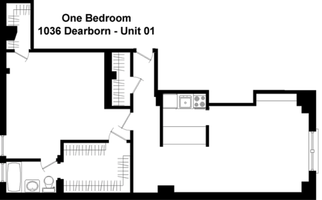 1 Bedroom 1 Bathroom Apartment for rent at 1036 N. Dearborn in Chicago, IL
