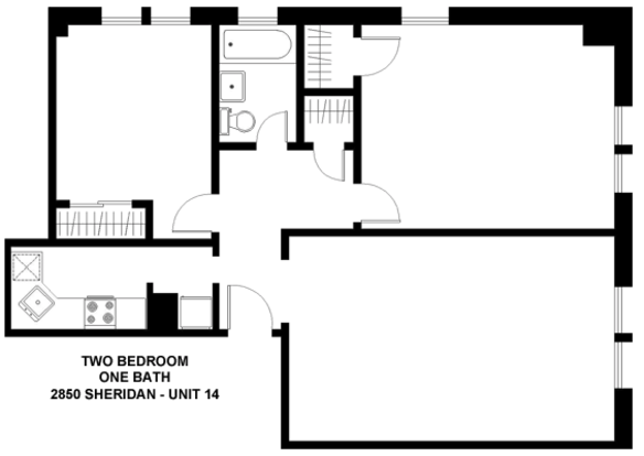 2 Bedrooms 1 Bathroom Apartment for rent at 2850 N. Sheridan in Chicago, IL