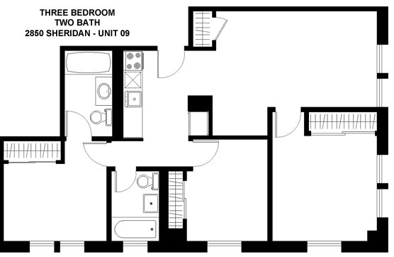3 Bedrooms 2 Bathrooms Apartment for rent at 2850 N. Sheridan in Chicago, IL