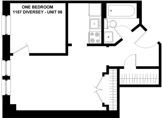 1 Bedroom 1 Bathroom Apartment for rent at 1157 W. Diversey in Chicago, IL