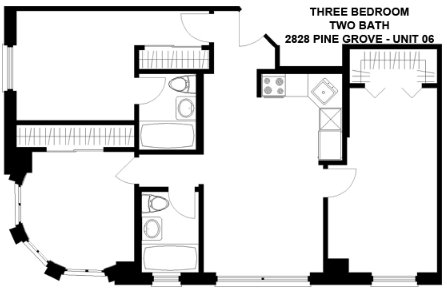 3 Bedrooms 2 Bathrooms Apartment for rent at 2828 N. Pine Grove in Chicago, IL