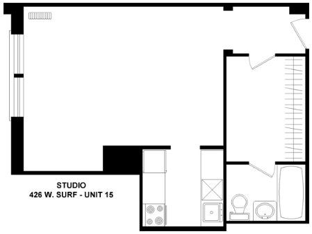 Studio 1 Bathroom Apartment for rent at 426 W. Surf in Chicago, IL