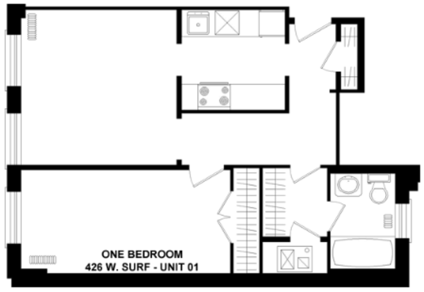 1 Bedroom 1 Bathroom Apartment for rent at 426 W. Surf in Chicago, IL
