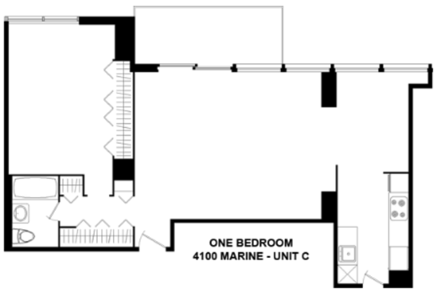 1 Bedroom 1 Bathroom Apartment for rent at 4100 N. Marine Dr. in Chicago, IL