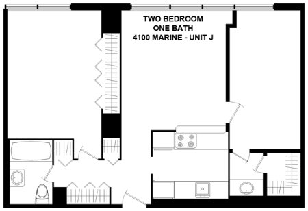 2 Bedrooms 1 Bathroom Apartment for rent at 4100 N. Marine Dr. in Chicago, IL
