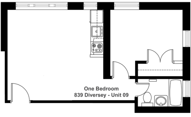 1 Bedroom 1 Bathroom Apartment for rent at 839 Diversey in Chicago, IL