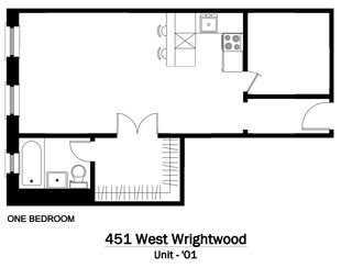 1 Bedroom 1 Bathroom Apartment for rent at 451 W. Wrightwood in Chicago, IL