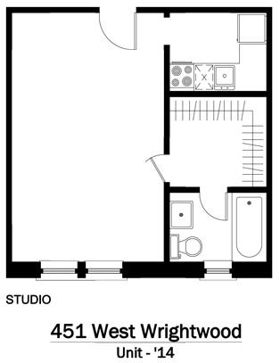Studio 1 Bathroom Apartment for rent at 451 W. Wrightwood in Chicago, IL